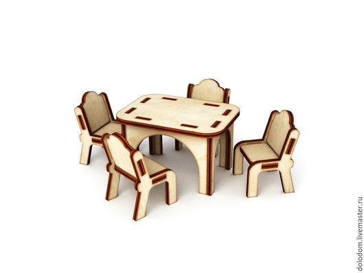 Куклы и игрушки ручной работы. Ярмарка Мастеров - ручная работа. Купить КМ-0000044 Кукольный кухонный столик со стульями. Handmade.