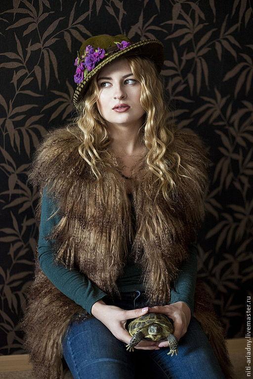 """Шляпы ручной работы. Ярмарка Мастеров - ручная работа. Купить Женская шляпка """"Багульник"""".. Handmade. Хаки, шляпа с полями, фетр"""