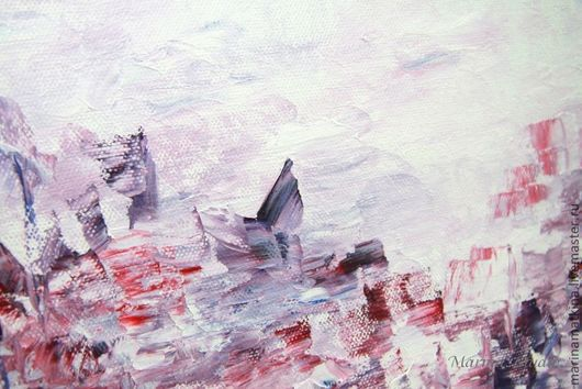 """Абстракция ручной работы. Ярмарка Мастеров - ручная работа. Купить Картина маслом """"Мой розовый закат"""". Handmade. Бледно-розовый"""