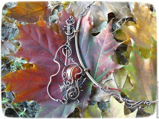 """Колье, бусы ручной работы. Ярмарка Мастеров - ручная работа. Купить Колье  """"Скрипка-осень"""" медь, сердолик натуральный, чоккер, ассиметрия. Handmade."""