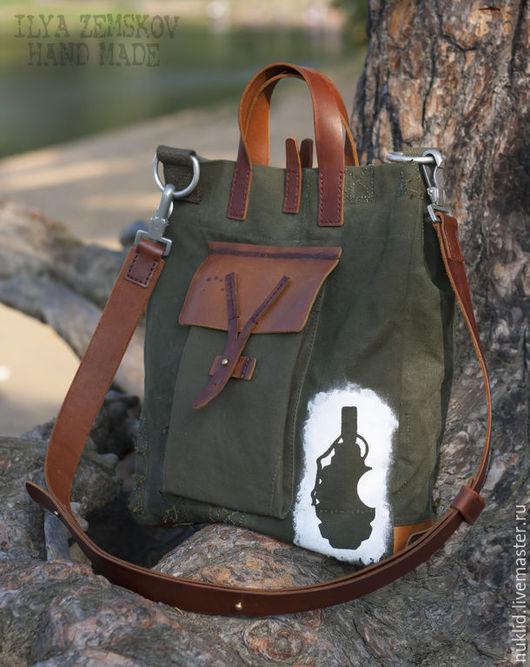 Мужские сумки ручной работы. Ярмарка Мастеров - ручная работа. Купить Сумка в стиле милитари АММО. Handmade. Хаки, брезент