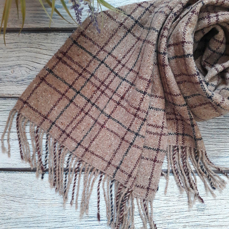Tweed scarf in a cage, Scarves, Krasnodar,  Фото №1