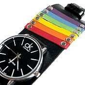 Часы наручные ручной работы. Ярмарка Мастеров - ручная работа Радужные часы, браслет из натуральной кожи.. Handmade.