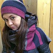 Аксессуары ручной работы. Ярмарка Мастеров - ручная работа Кашемировая двухсторонняя шапочка и шарф. Handmade.