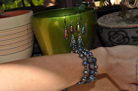 Комплекты украшений ручной работы. Ярмарка Мастеров - ручная работа. Купить Комплект из трех браслетов гематита Хамелеон. Handmade.