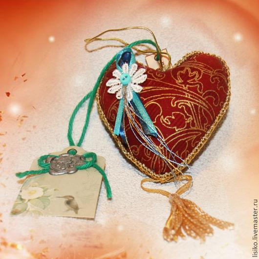 Миниатюра ручной работы. Ярмарка Мастеров - ручная работа. Купить Сердечки. Handmade. Бордовый, текстильное украшение, тесьма декоративная