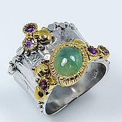 Украшения handmade. Livemaster - original item Gorgeous silver ring with natural emerald. Handmade.