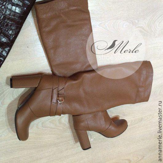 Обувь ручной работы. Ярмарка Мастеров - ручная работа. Купить Сапожки 10 см с ремешком, рыжая кожа. Handmade. Рыжий