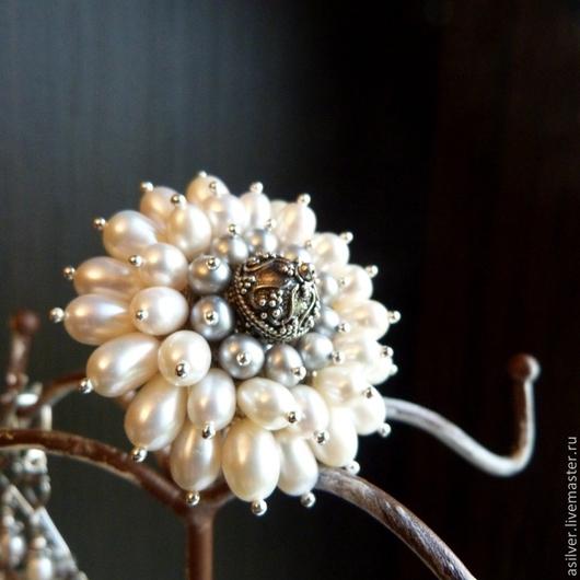 """Кольца ручной работы. Ярмарка Мастеров - ручная работа. Купить Кольцо """"Искристый иней"""". Handmade. Белый, жемчуг"""
