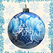 """Подарки к праздникам ручной работы. Ярмарка Мастеров - ручная работа Ёлочный шар """"Зимние цветы"""". Handmade."""