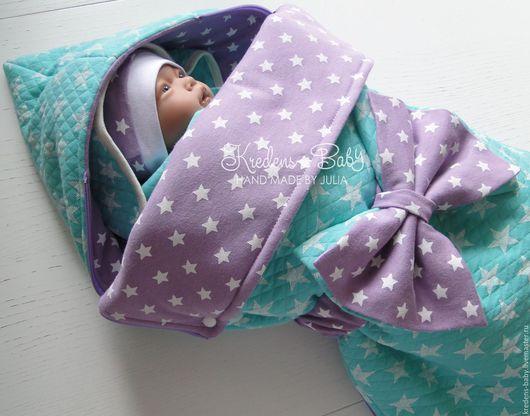 """Для новорожденных, ручной работы. Ярмарка Мастеров - ручная работа. Купить Комплект на выписку """"Звездный малыш"""". Handmade. Мятный"""