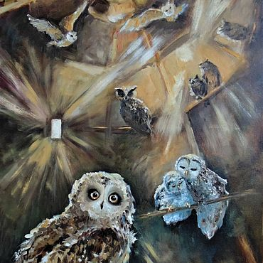 Картины и панно ручной работы. Ярмарка Мастеров - ручная работа Совятня Хогвартса Картина маслом. Handmade.