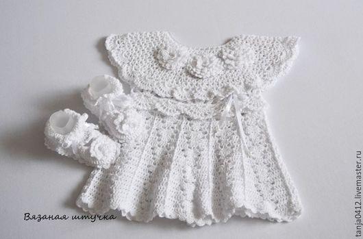 Одежда для девочек, ручной работы. Ярмарка Мастеров - ручная работа. Купить Вязаное платье и пинетки - туфельки для девочки. Handmade. Белый