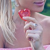 Украшения handmade. Livemaster - original item Earrings and ring with rock crystal. Handmade.