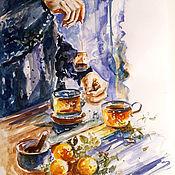 Картины и панно handmade. Livemaster - original item Tea and citrus-watercolor painting. Handmade.