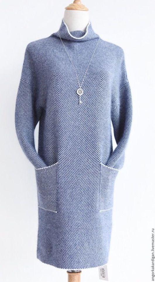 Кофты и свитера ручной работы. Ярмарка Мастеров - ручная работа. Купить Платье-туника в елочку. Handmade. Серый, туника шерстяная