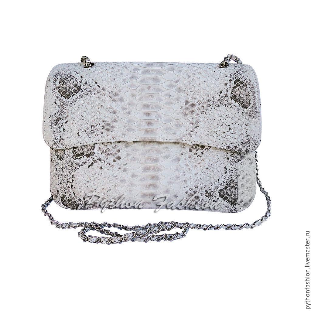 Handbag made of Python. Women's handbag made from Python. Pimonova purse cross body on a long chain. Easy handbag made of Python handmade. Stylish shoulder bag. Handbag made of Python custom