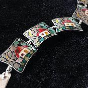 """Браслет из бусин ручной работы. Ярмарка Мастеров - ручная работа Браслет """"Домики"""" Мозаика. Handmade."""