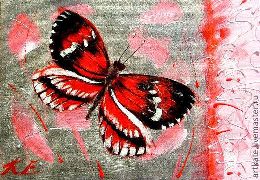 """Животные ручной работы. Ярмарка Мастеров - ручная работа. Купить Картина """"Бабочка melpomene"""". Handmade. Ярко-красный, бабочка, картина"""