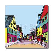 """Картины и панно ручной работы. Ярмарка Мастеров - ручная работа Картина """"Веселые улицы-2"""" купить/заказать акрил/печать на холсте. Handmade."""