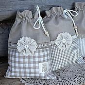 Для дома и интерьера ручной работы. Ярмарка Мастеров - ручная работа Льняные мешочки для грибов, лука, чеснока (100 % лен). Handmade.