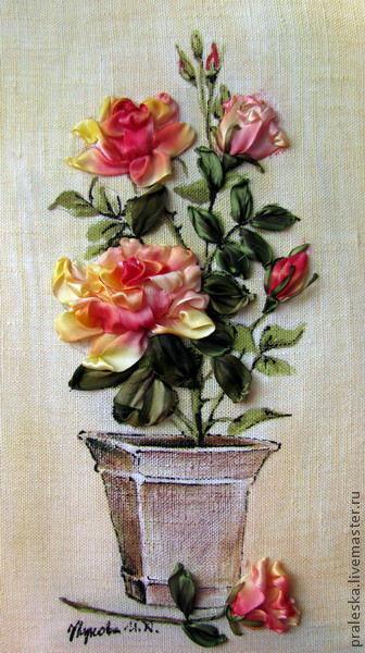 """Вышивка ручной работы. Ярмарка Мастеров - ручная работа. Купить набор №2 """"Роза утренняя свежесть"""" для вышивки лентами. Handmade."""