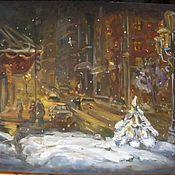 """Картины и панно ручной работы. Ярмарка Мастеров - ручная работа Картина маслом """"Зимним вечером"""". Handmade."""