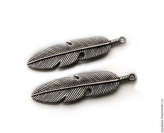 Подвески Перо 3D античное серебро, можно использовать как подвеску или концевик для Боло галстука, комплект 2 шт