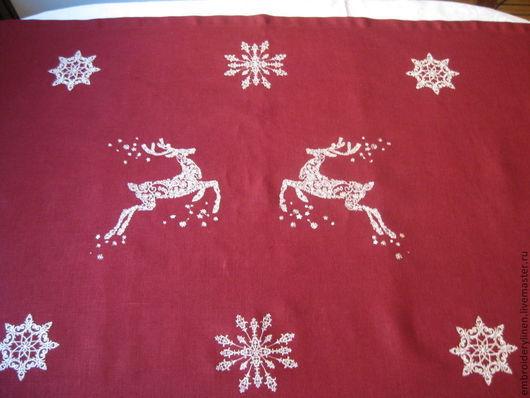 """Текстиль, ковры ручной работы. Ярмарка Мастеров - ручная работа. Купить Льняная дорожка """"Новогодний олень"""". Handmade. Бордовый"""