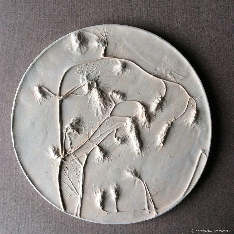 хмель Гипсовое панно Отливки цветов Оттиски цветов Ботанический барельеф Панно для интерьера Картины цветов