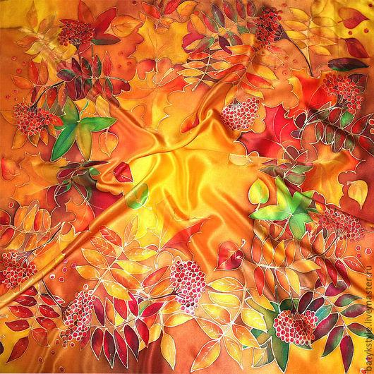 """Шали, палантины ручной работы. Ярмарка Мастеров - ручная работа. Купить Шелковый платок батик """"Краски осени"""". Handmade. листья"""
