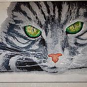 """Картины и панно ручной работы. Ярмарка Мастеров - ручная работа Батик-панно """"Серый кот с зелеными глазами"""". Handmade."""