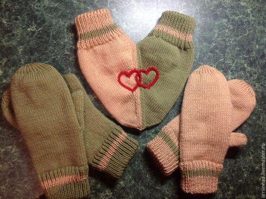 Варежки, митенки, перчатки ручной работы. Ярмарка Мастеров - ручная работа. Купить варежки для влюбленных. Handmade. Варежки, подарок на новый год