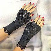 Митенки ручной работы. Ярмарка Мастеров - ручная работа Митенки-перчатки из замши-стрейч с кружевом короткие. Handmade.