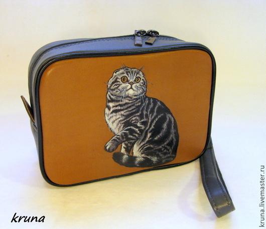 Женские сумки ручной работы. Ярмарка Мастеров - ручная работа. Купить Кожаная сумочка-органайзер   Шотландская кошка - 2. Handmade.