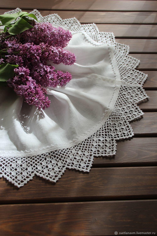 Льняное полотенце с кружевной каймой, Полотенца, Королев,  Фото №1