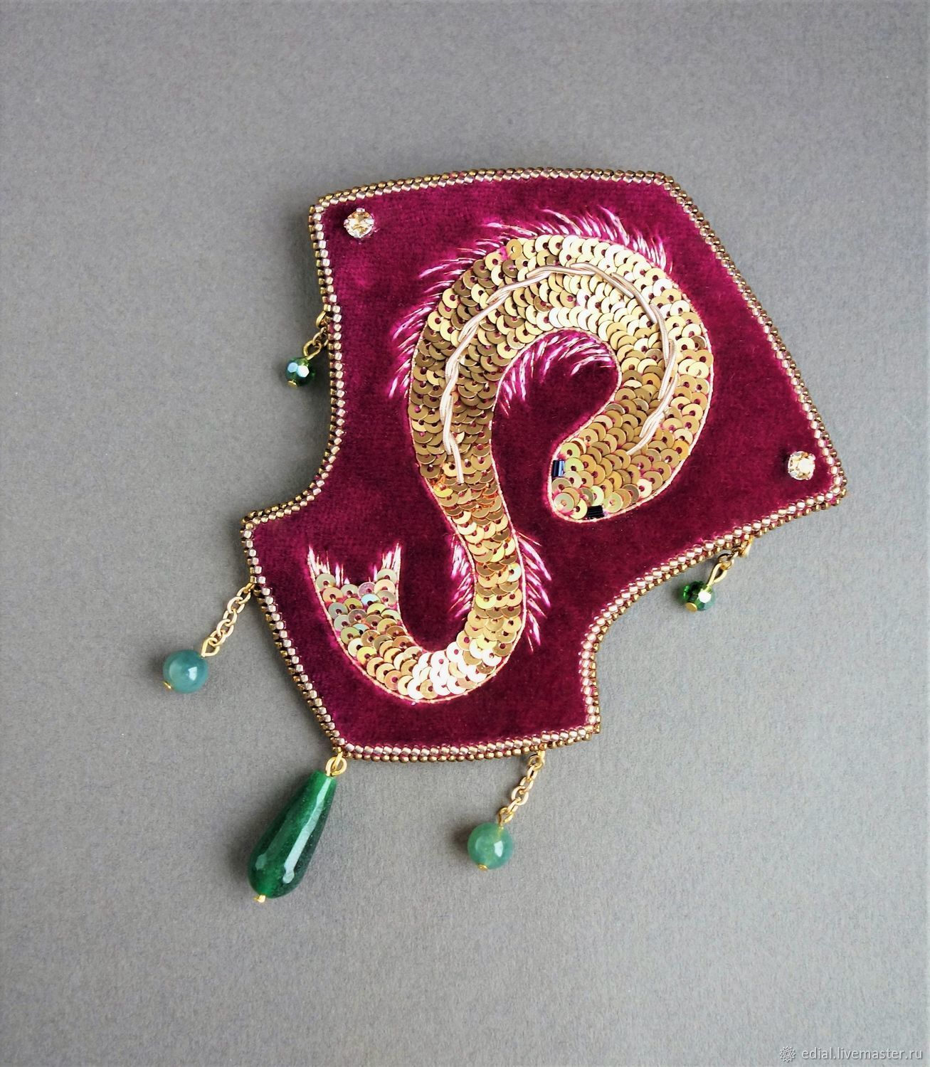 The GOLDFISH brooch sequins, GIMP, velvet, beads, agate, Brooches, Moscow,  Фото №1