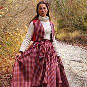 Одежда ручной работы. Ярмарка Мастеров - ручная работа Теплая двойная юбка из льна и жилет в стиле бохо Забава. Handmade.