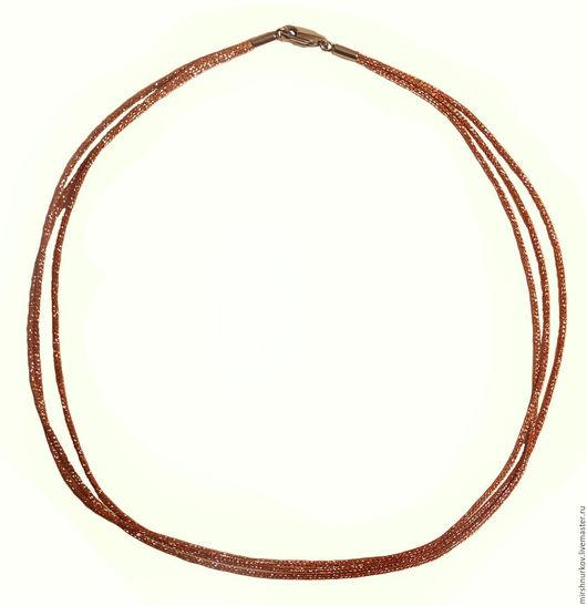 Колье, бусы ручной работы. Ярмарка Мастеров - ручная работа. Купить Шнурок металлизированный из трёх нитей коричневый. Handmade. Коричневый