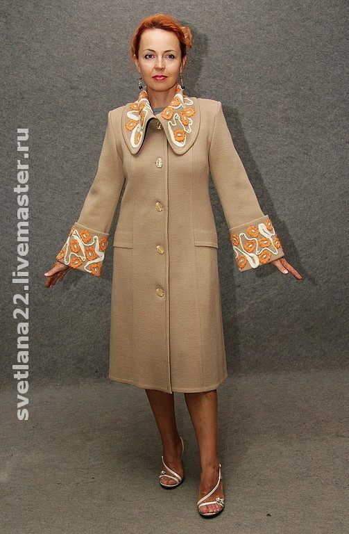 "Outer Clothing handmade. Livemaster - handmade. Buy Knitted coat ""Standard style"".Knitted coat, embroidery wool"