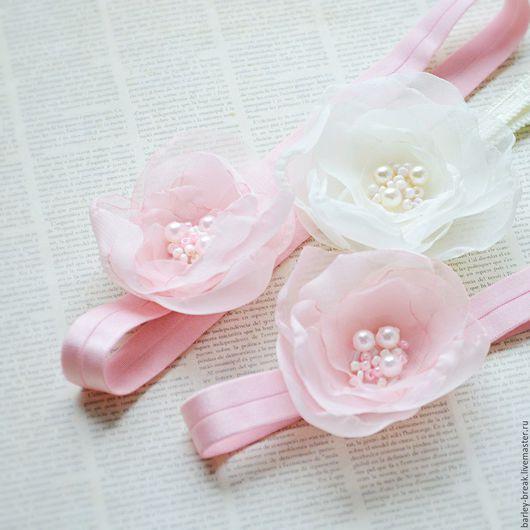 Диадемы, обручи ручной работы. Ярмарка Мастеров - ручная работа. Купить Цветы из ткани. Handmade. Ободок с цветами, брошь