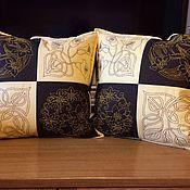 Подушки ручной работы. Ярмарка Мастеров - ручная работа Декоративные подушки «Дуэт с вышивкой Сашико». Handmade.