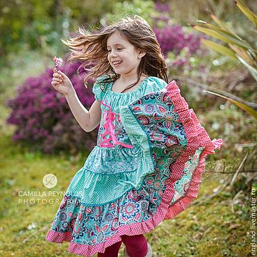 Работы для детей, ручной работы. Ярмарка Мастеров - ручная работа Платье бирюзовое розовое Хлопок оборки. Handmade.