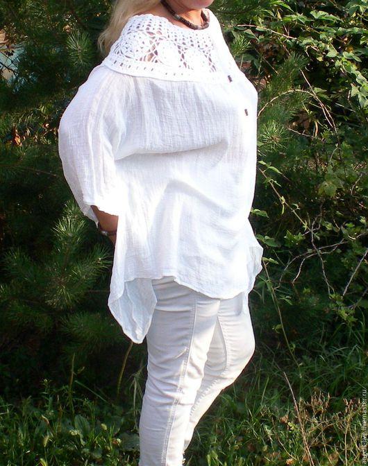 Большие размеры ручной работы. Ярмарка Мастеров - ручная работа. Купить Эко. Летняя туника/платье. Handmade. Белый, бохо, лён