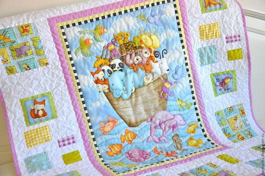 """Пледы и одеяла ручной работы. Ярмарка Мастеров - ручная работа. Купить Детское лоскутное одеяло (покрывало) """"Ковчег"""". Handmade."""