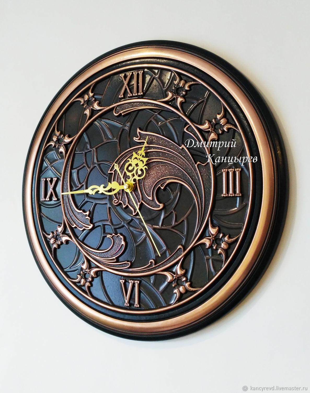 Metal wall clock, polished copper, round, Watch, Ivanovo,  Фото №1