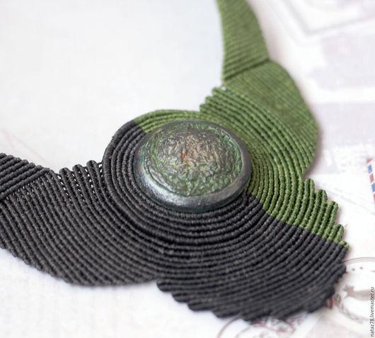 """Колье, бусы ручной работы. Ярмарка Мастеров - ручная работа. Купить Колье """"Verde argento"""" макраме. Handmade. Тёмно-зелёный"""