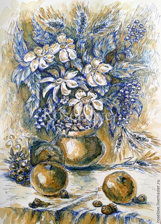 Картина `Кофейный натюрморт` Катерины Аксеновой.  (Кофе,Графика,Натюрморт с фруктами и цветами) картина яблоки натюрморт ,яблоки картина кофе,картина яблоки и цветы графика,картина с цветами и яблокам