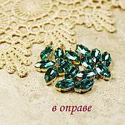 Материалы для творчества handmade. Livemaster - original item Glass rhinestone 10h5 mm Emerald in gold and silver rims. Handmade.