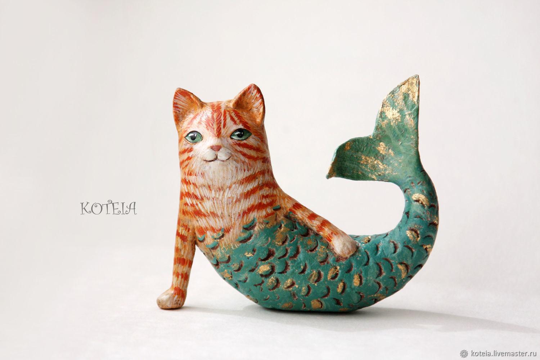 Игрушки животные, ручной работы. Ярмарка Мастеров - ручная работа. Купить Кошка русалка - интерьерная игрушка из папье-маше. Handmade.